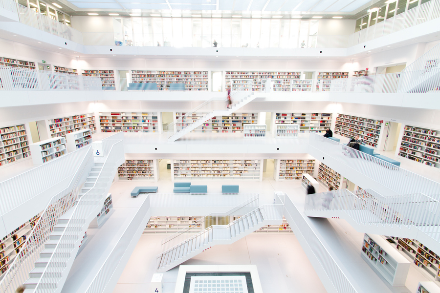 Stuttgart New Public Library Penaroza white books stairs