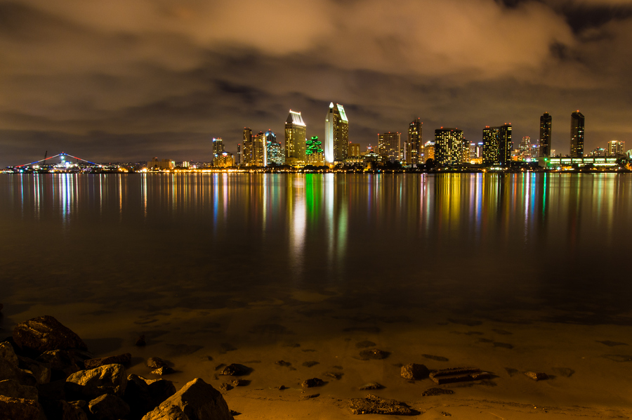 San Diego California night skyline downtown colors water