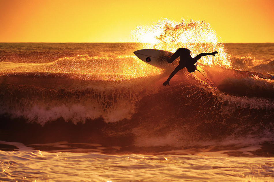 surf wave sunset orange yellow