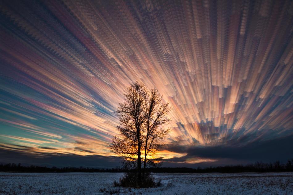 colorful sunset time lapse multiple shots image