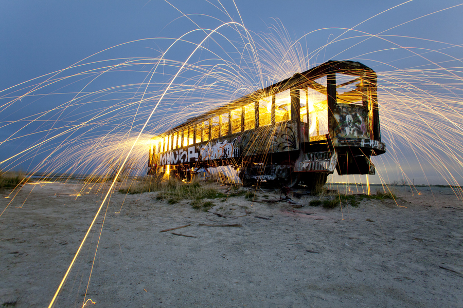 crazy train night spinning sparks Penaroza desert fire