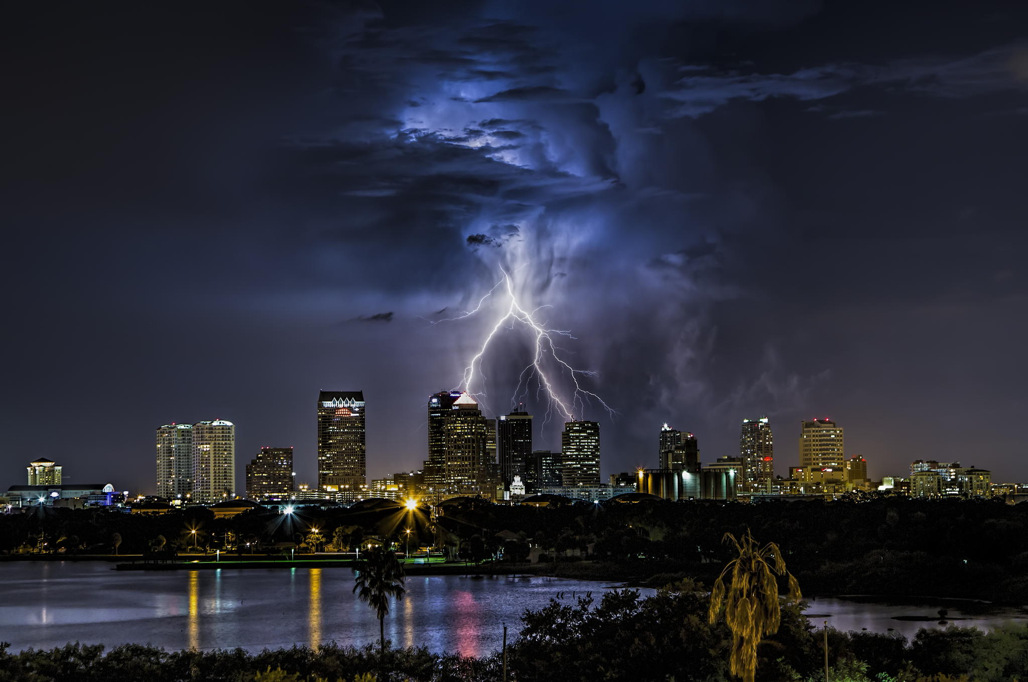 lightning strike over downtown tampa florida by justin battles